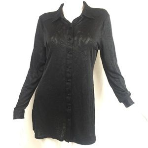 Isaac Mizrahi New York 8 sheer black shirt